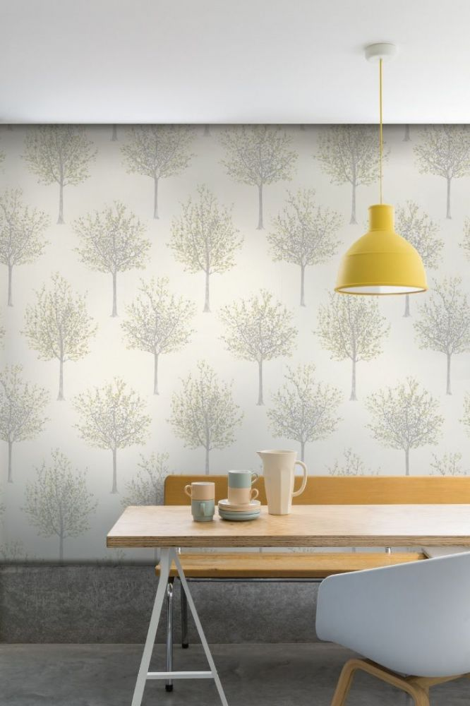 Grandeco Bloomsbury Trees Yellow NG2105 Wallpaper